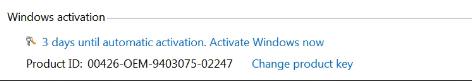 Windows Activation - 3 days