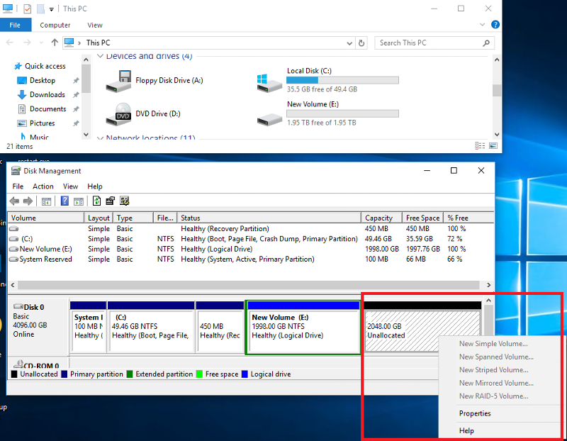 Disk Management - Free 2 TB / Unallocated