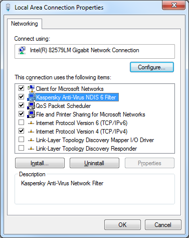 NDIS Enabled in Network Adapter Properties