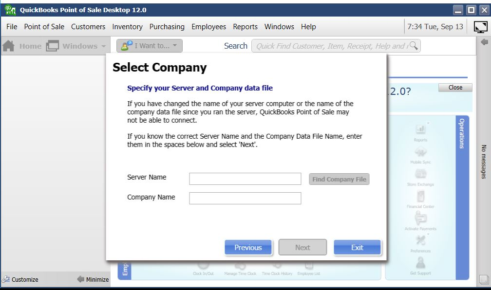 Link Quickbooks point of sale to server