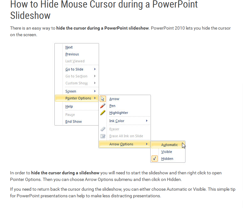 how to hide mouse pointer in powerpoint