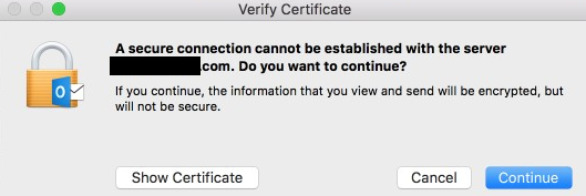 Certificate error pops up
