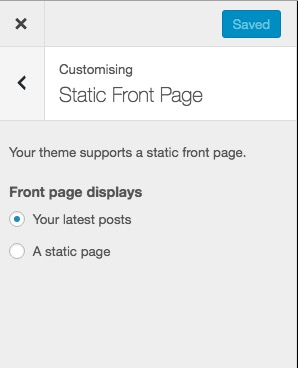 wordpress front page
