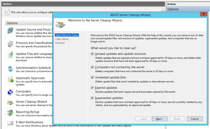 The WSUS Cleanup Wizard with all checkboxes marked.