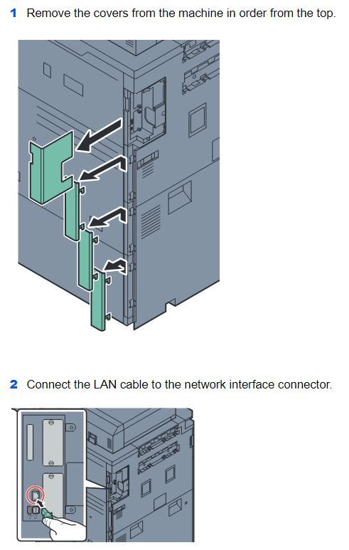 Remove covers to access the LAN port.