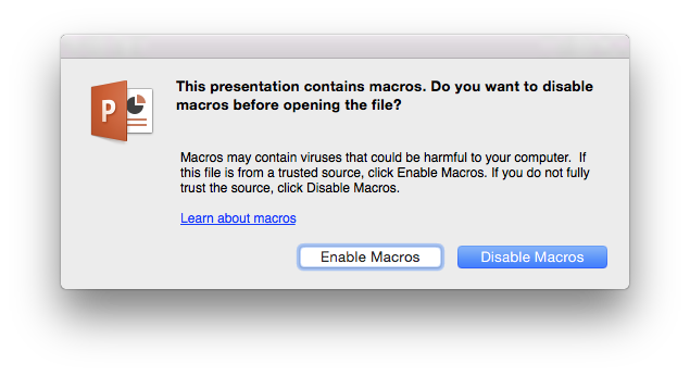 PowerPoint:mac 2016 macro dialogue