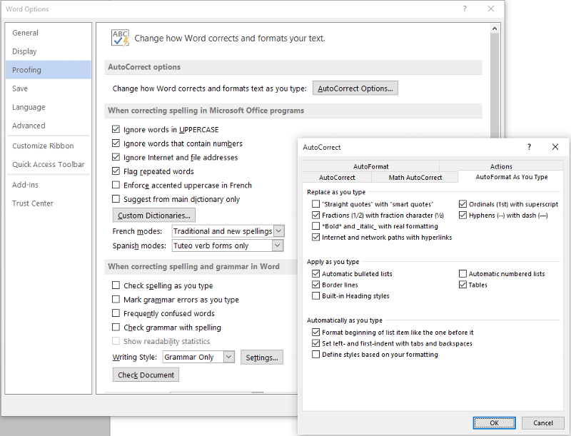 Word defaults AutoFormat as you type