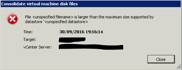 Disk Consolidation Error