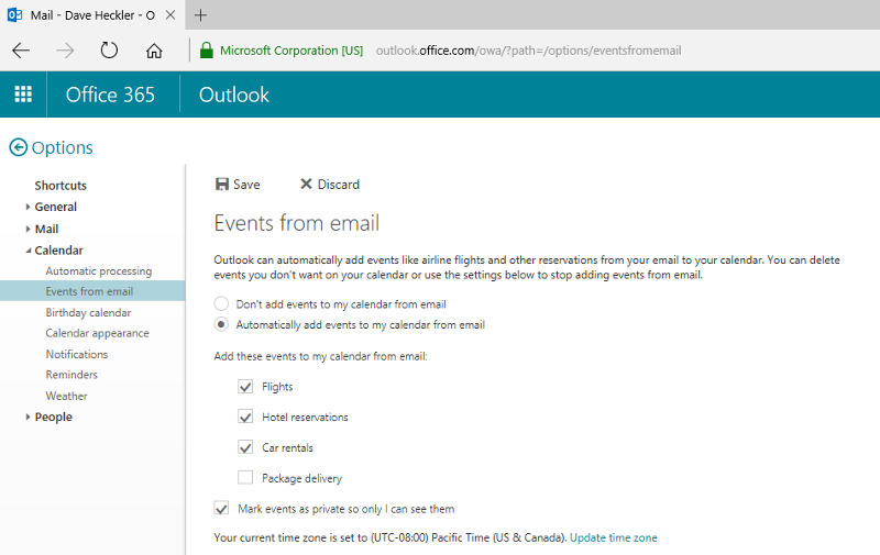 Screenshot of Email from Events feature in Office365 OWA