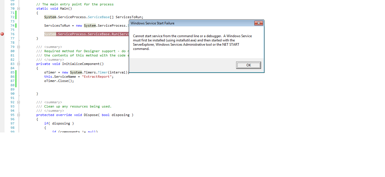Debug Windows Service program in C#