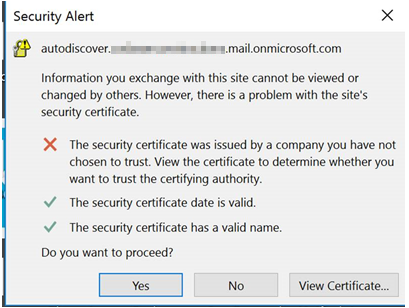 Screenshot of cert warning