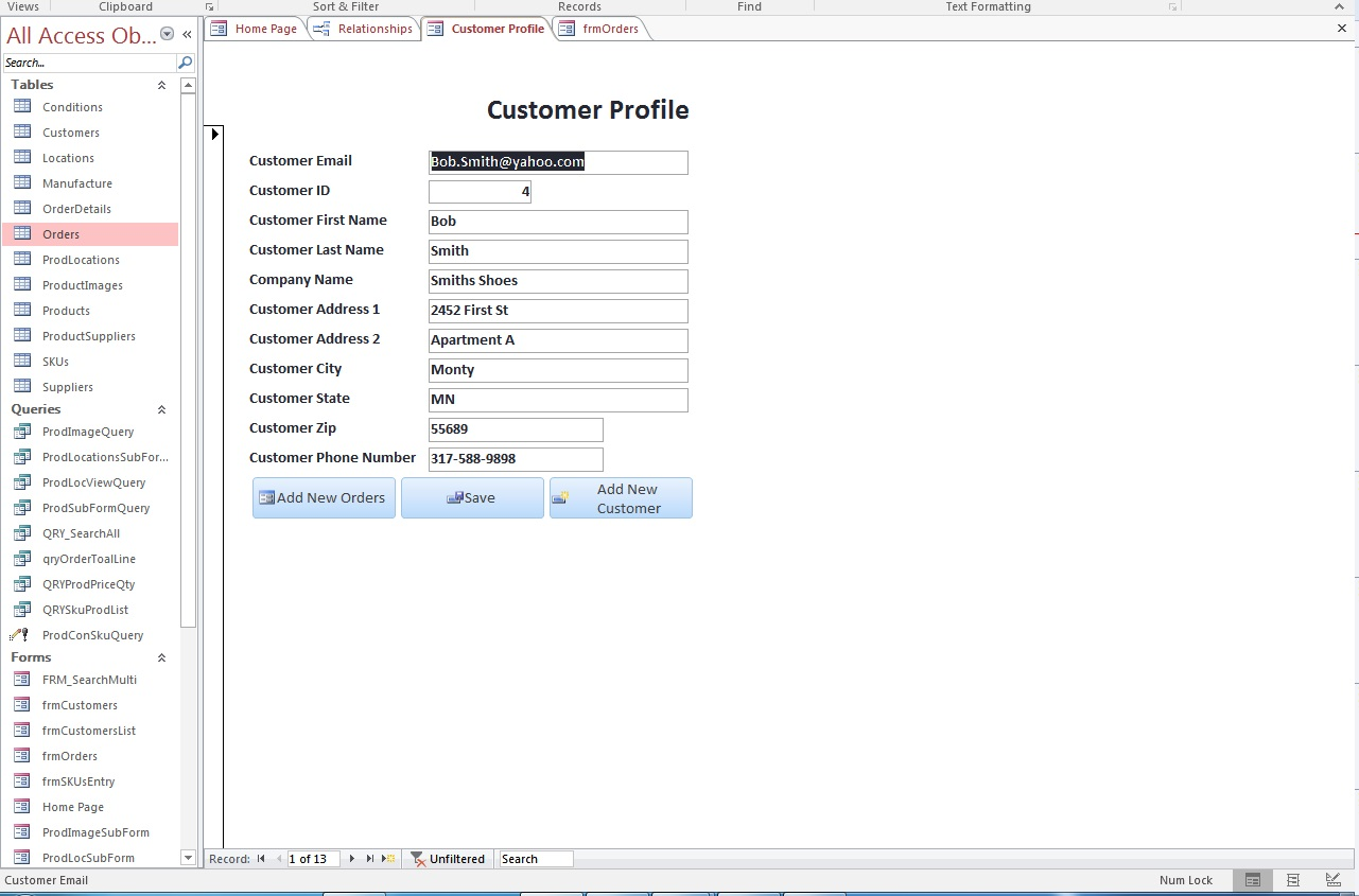 order form access  MS Access Form Customer Order Form Building Button Open Up ...