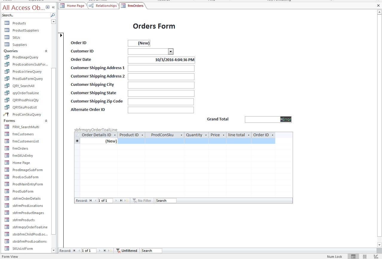 MS Access Form Customer Order Form Building Button Open Up