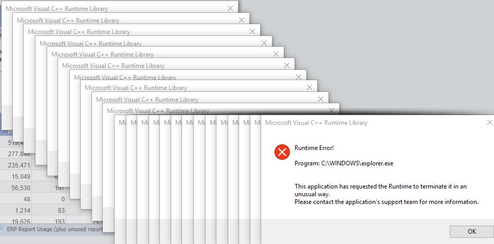 Microsoft Visual C++ Runtime library, Runtime error