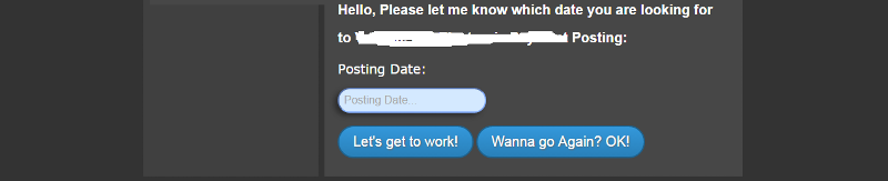 "Here is where it says ""posting date"" is where the date would be okay and I need to click the button for it to generate data for me"