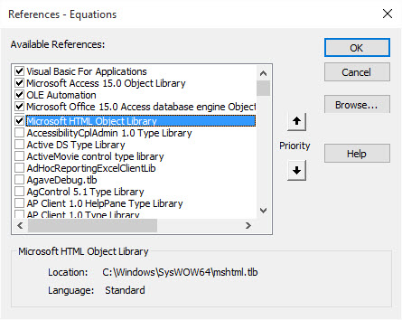 Access -- reference Microsoft HTML Object Library