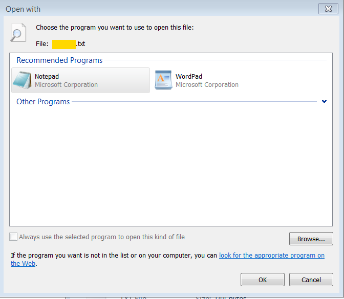 "The checkbox ""Always use the selected program to open this kind of file"" is grayed out."