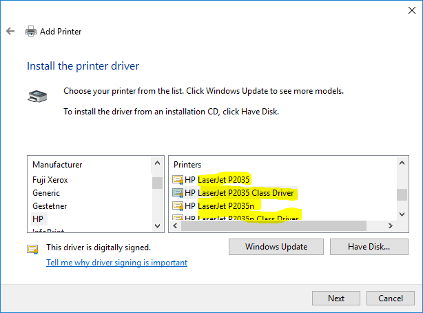 Add printer - LJ P2035 drivers