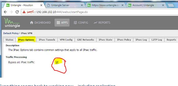 Screen Shot of Untangle IPsec Option that MUST be checked.