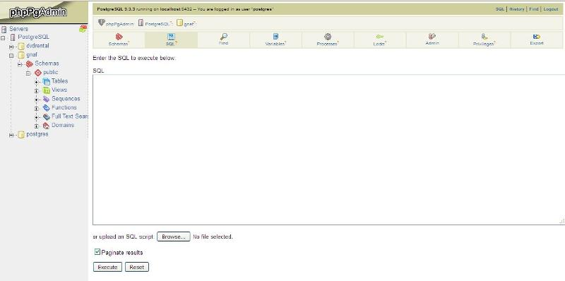 phpPgAdmin screen shot