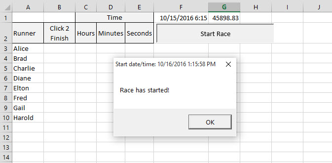 Excel - click button to start race