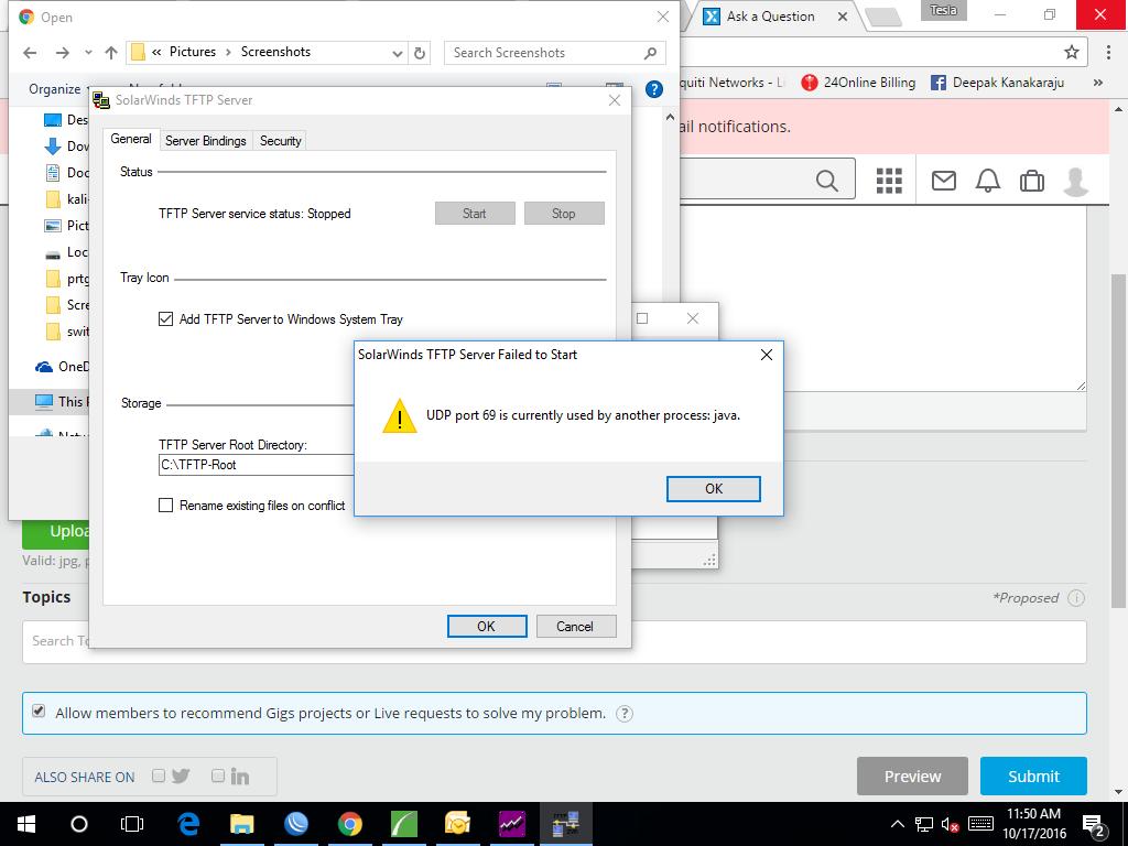 port 69 error in solarwind TFTP server
