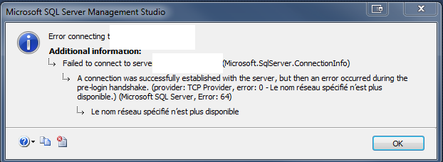 SQL Server Management Studio error