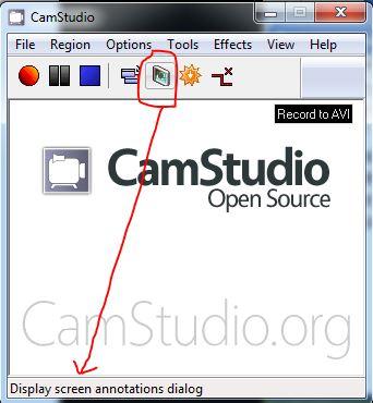 display screen annotations cam studio