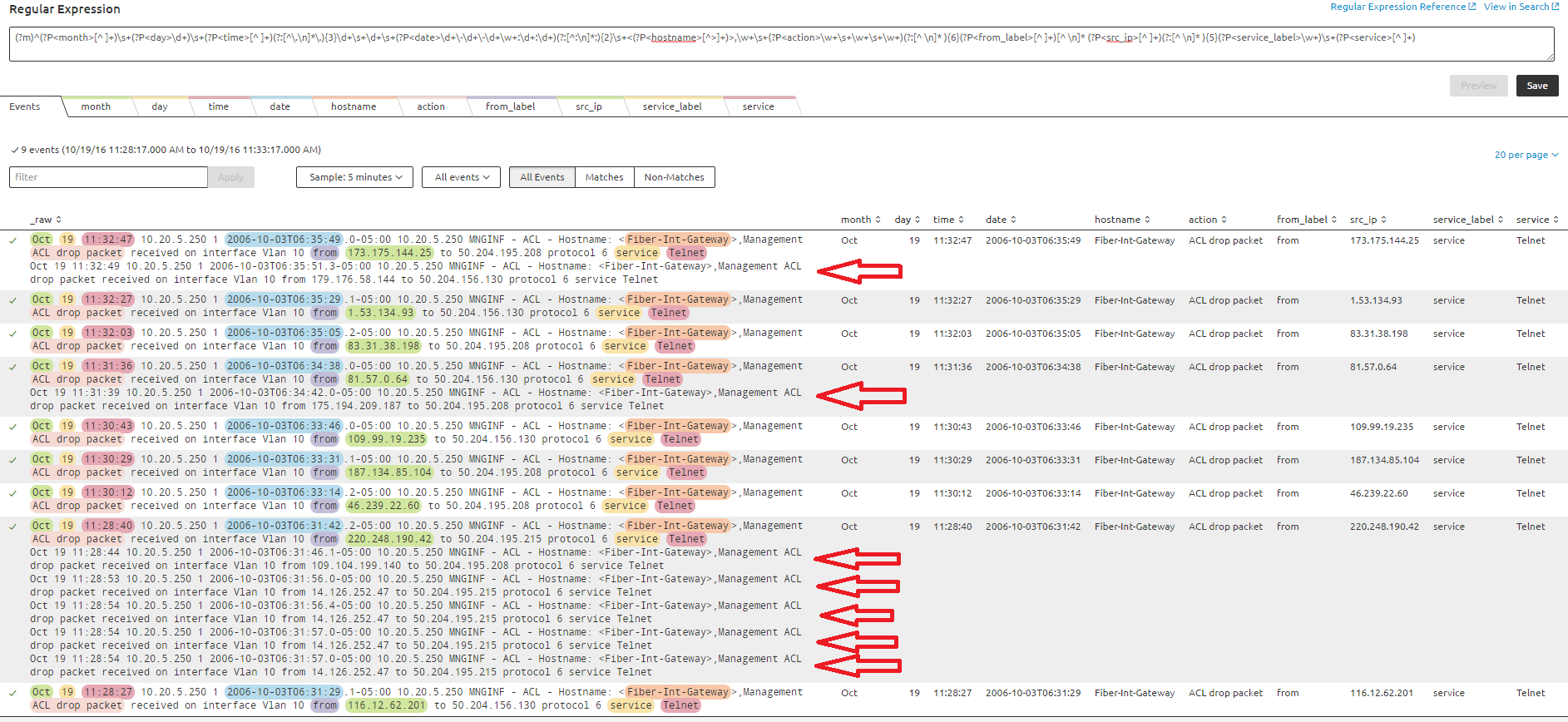Splunk REGEX working perfectly for single line, not