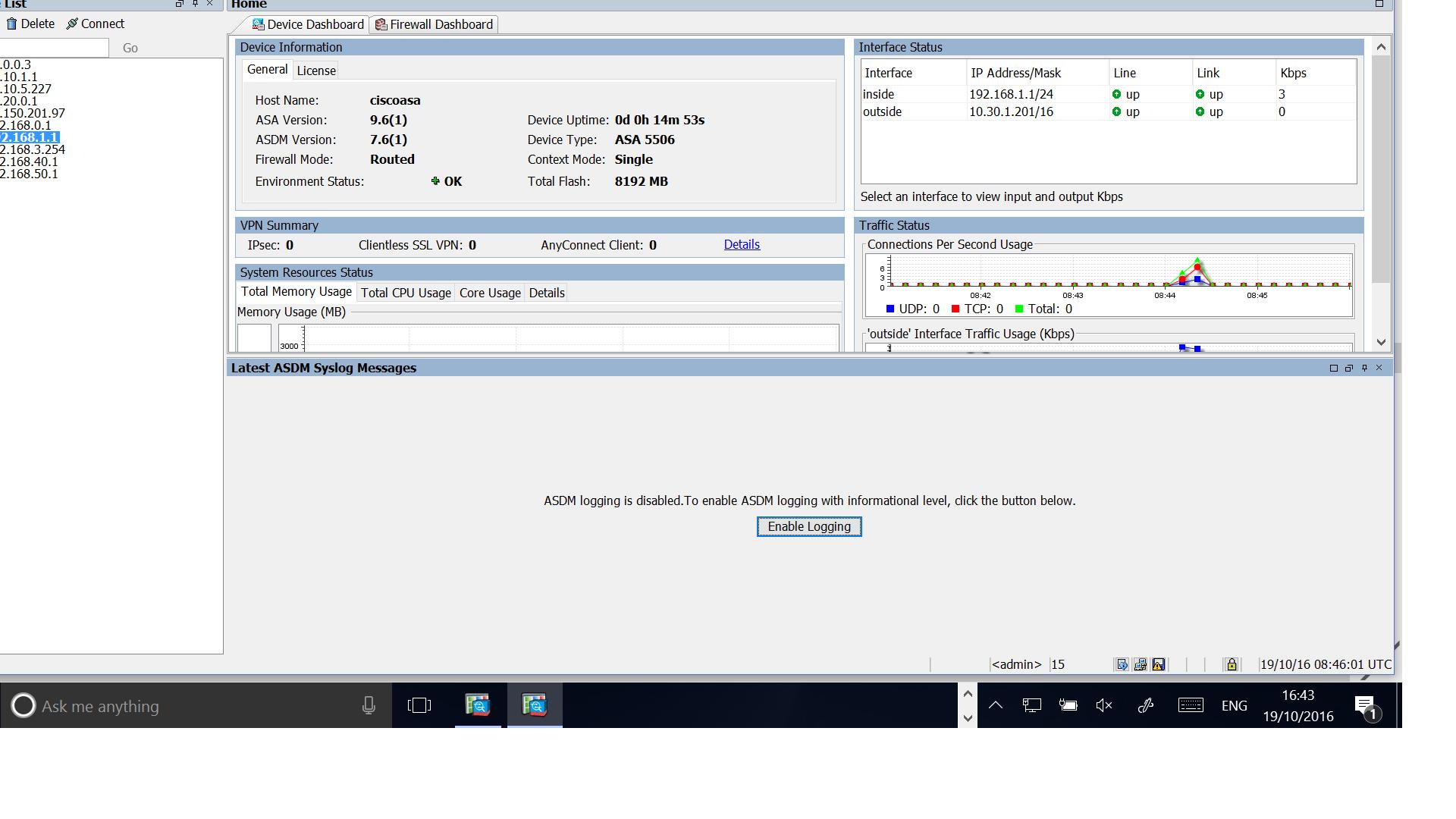 ASA5506-X Firepower services ASDM login Issue