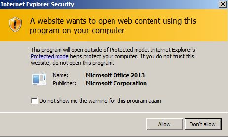 Internet explorer protected mode and word 2013 problem