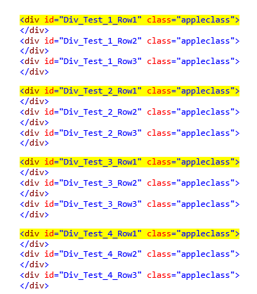 i only want to display the divs highlighted in yellow