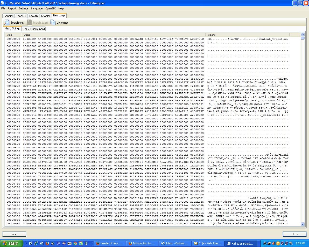 Header of docx file