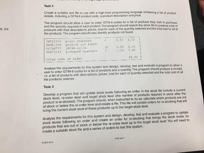 Task 2 and 3 - please help!