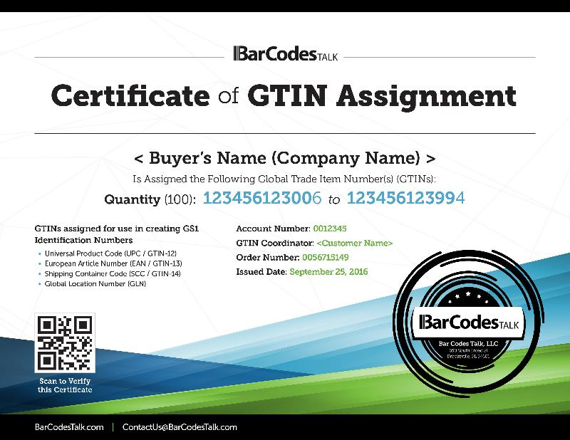 Barcode certificate