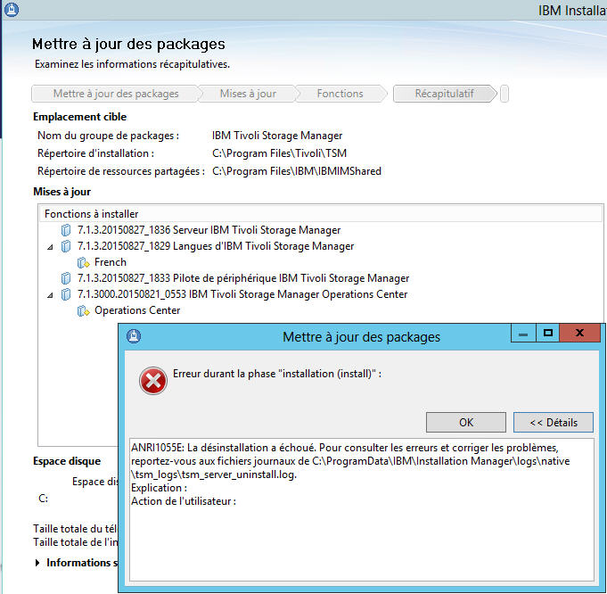 IBM Tivoli Storage Manager : TSM service not starting! Error