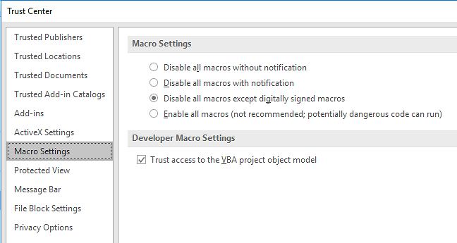 PowerPoint Trust Centre Settings for Macros