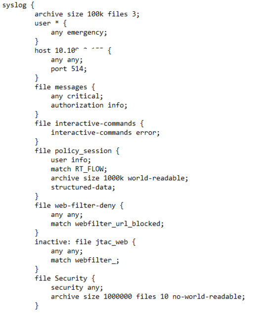 the config code