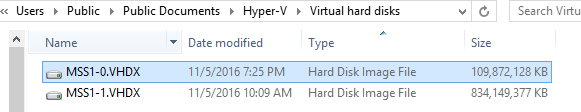 Imported VHDX Files