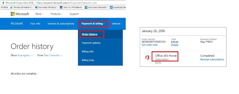 office365 billing info check