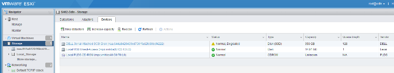 Screenshot of Degraded disk status in ESXi