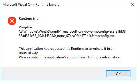 MSCONFIG error