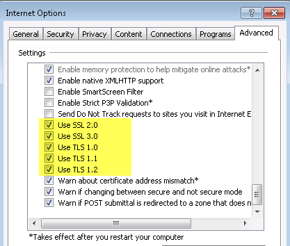 IE Advanced Options