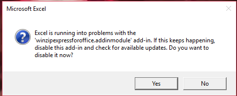 Excel Error per WinZip Add-In