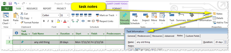 Task Notes in MSP via Gantt View