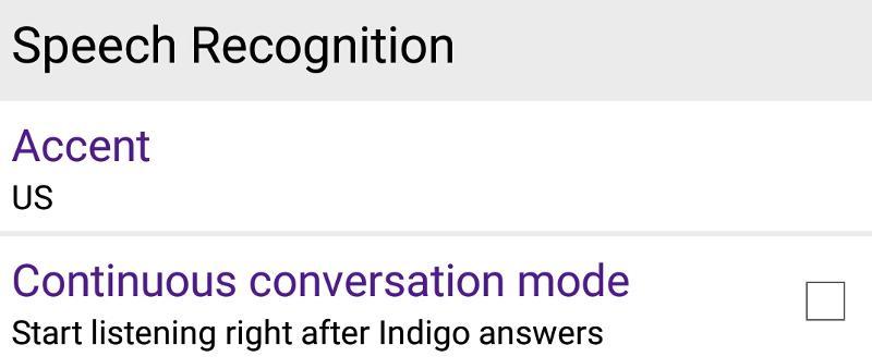 Voice recognition Setting of Idigo