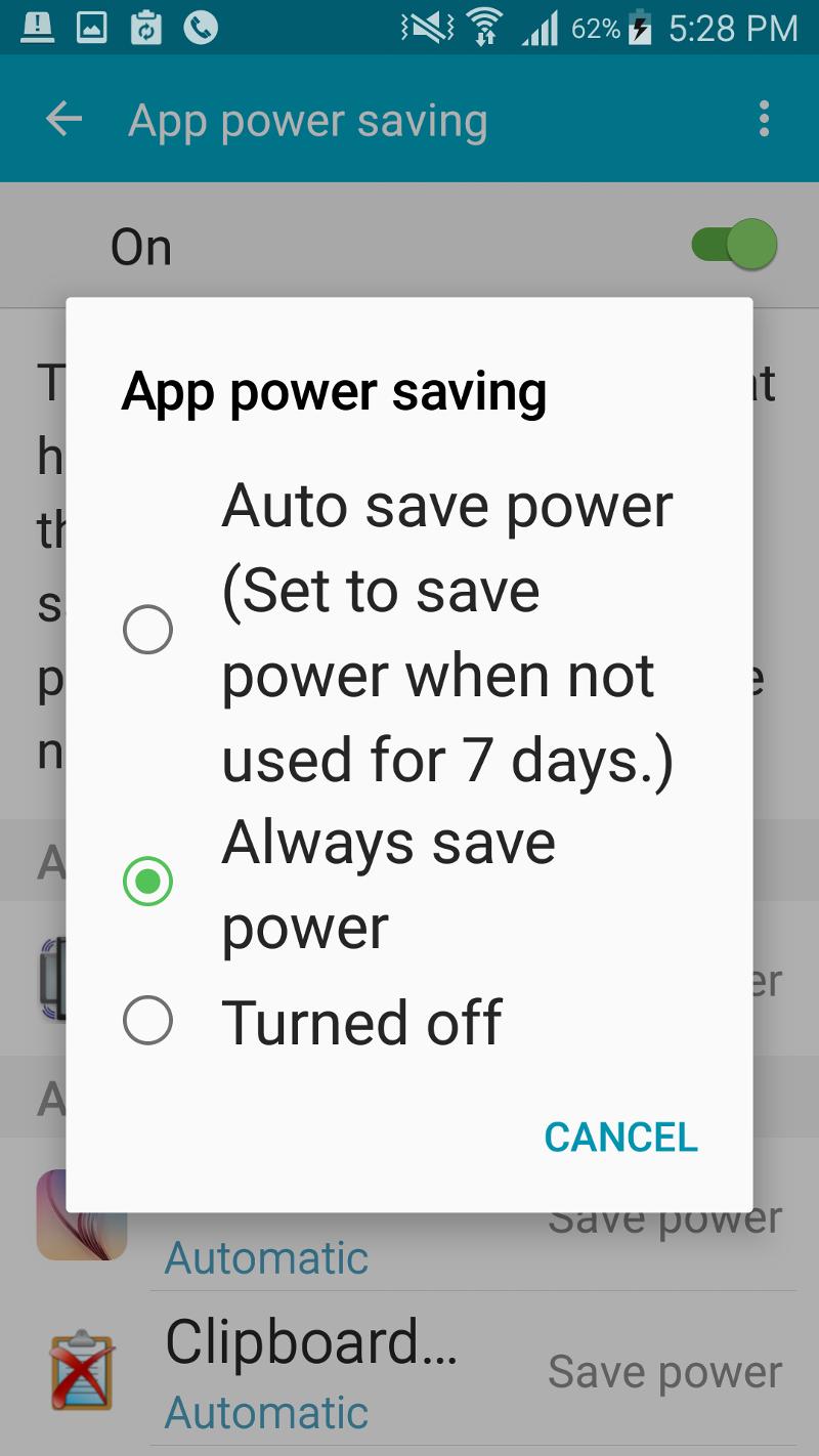 App power saving - Rotate