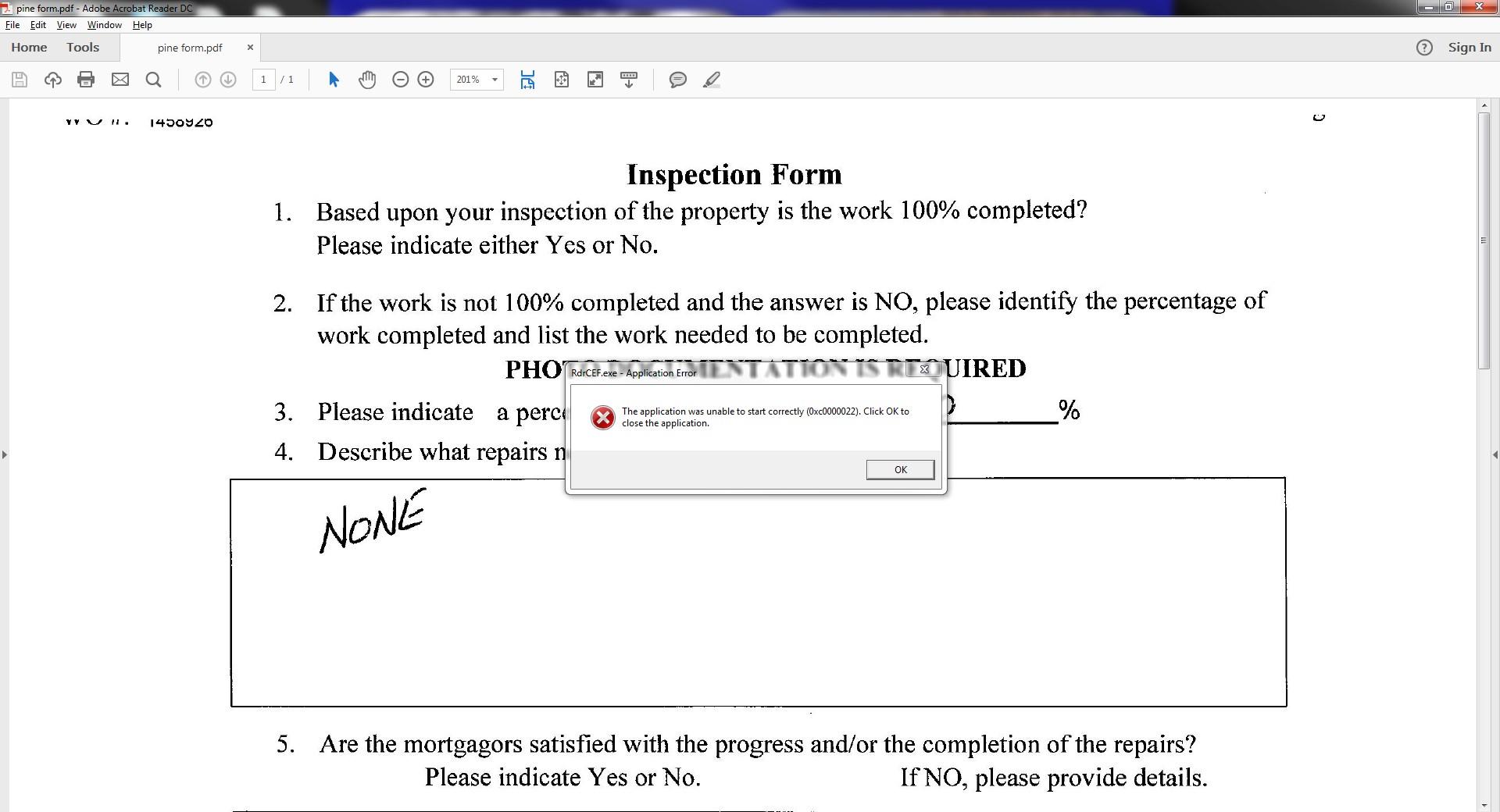 Adobe Reader DC RdrCEF EXE Application Error