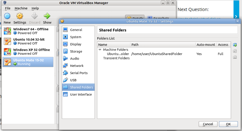 Full Access Set from VirtualBox