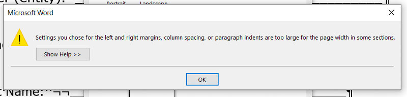 Word formatting error